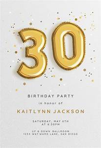 Farewell Invitation Templates Free Download 30th Foil Balloons Birthday Invitation Template Free