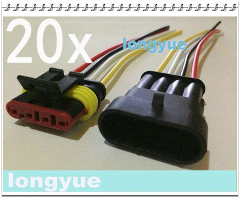 Marine Wiring Harnes Connector by Longyue 20sets New 4 Pin Waterproof Electrical Wire