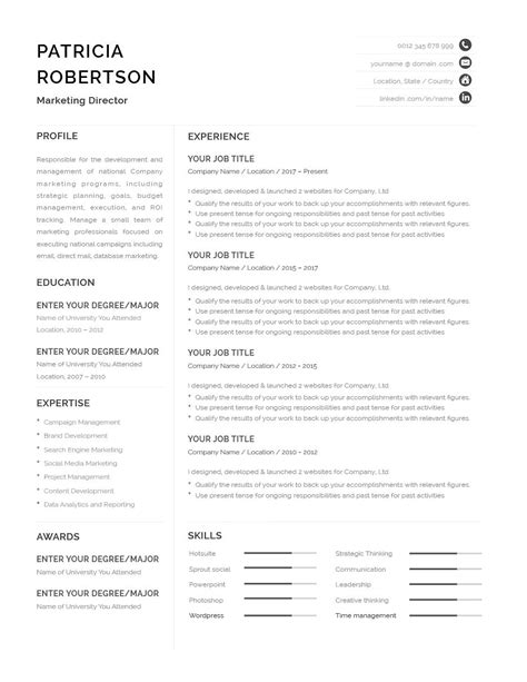 Classic Resume Template 120670 (color: grey) MS Word | Resumeway | Microsoft word resume