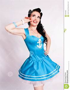 Sailor Pin Up Girl With Bright Make Up. Stock Image ...