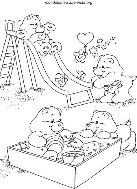 disegni di parco giochi disegni da colorare gli orsetti cuore mondo bimbo