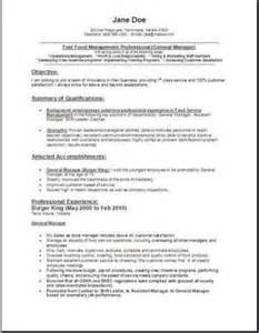 exle of objectives in resume for fast food fast food manager resume occupational exles sles free edit with word