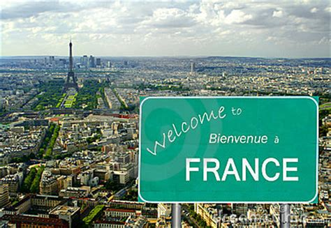 Welcome To France Sign With Eiffel Tower Stock Images ...