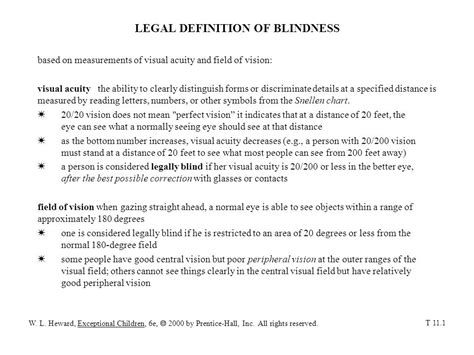 definition of legally blind definition of blindness ppt