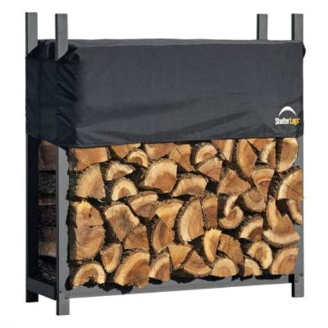 shelterlogic 4 ft ultra duty firewood rack with cover 90474 the home depot