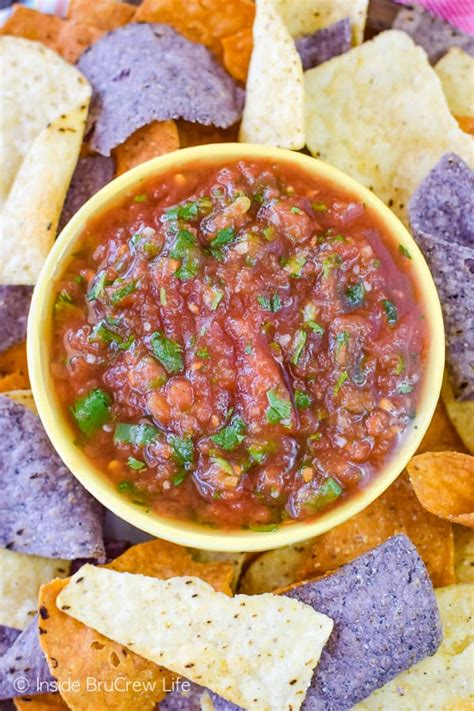 To make the best and easiest tomato salsa from scratch, first prepare the produce: Easy Homemade Salsa