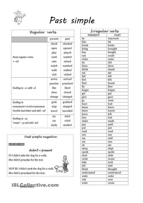 simple regular  irregular verbs irregular verbs
