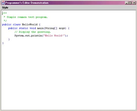 screen shot  demo   java  world program displayed