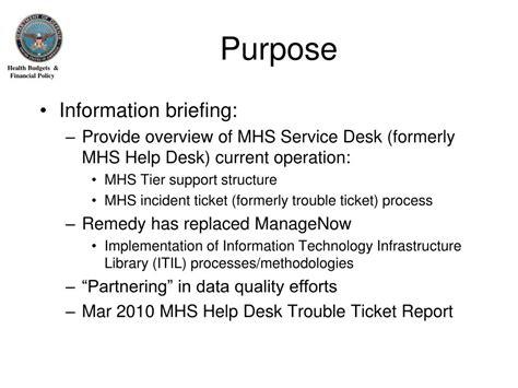 Dmdc Learning Help Desk ppt mhs service desk overview powerpoint presentation