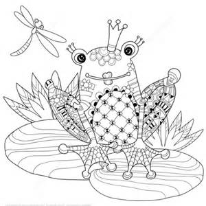 coloriage prince grenouille zentangle coloriages