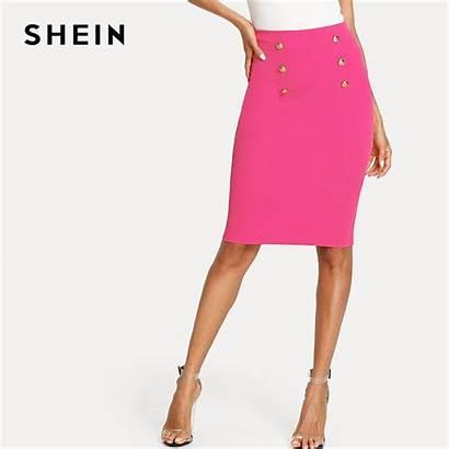 Pencil Skirt Pink Skirts Bright Shein Knee