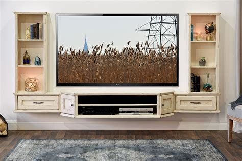 white floating entertainment center farmhouse furniture and decor woodwaves 1298