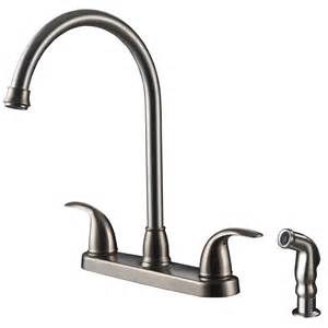 Ultra Faucets Vantage Collection 2-Handle Standard Kitchen Faucet with Side Sprayer in Stainless Steel (Silver), Stainless Steel