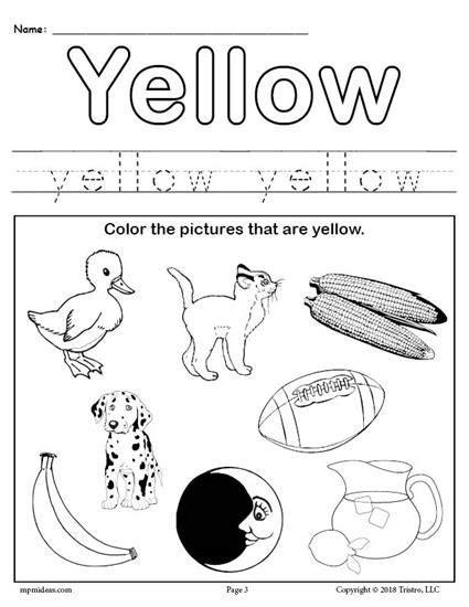 color yellow worksheet colors pre school