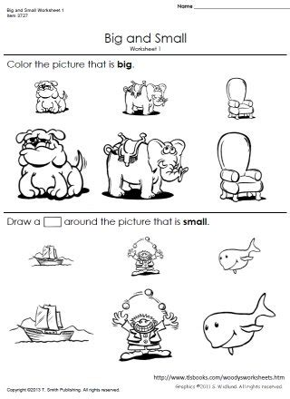big and small worksheets 1 and 2
