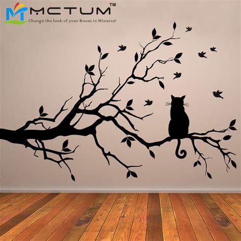 Cat On Tree Branch Birds Vinyl Wall Sticker Wall Art