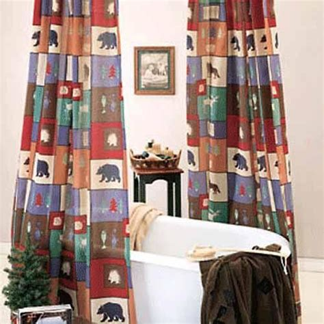 the woods shower curtain at rocky mountain cabin decor