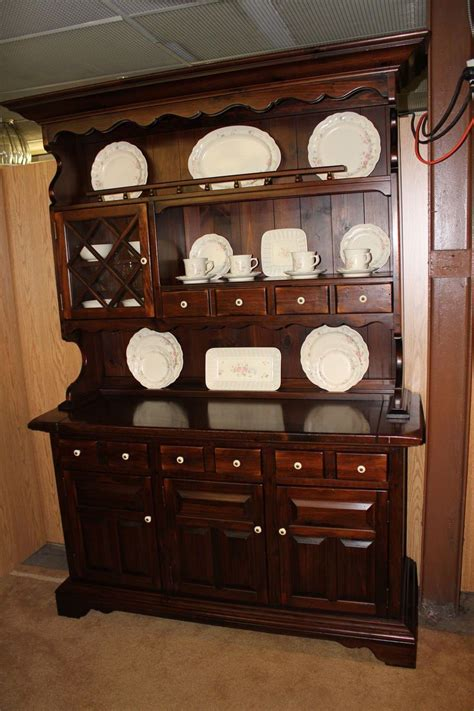 china cabinet hutch ethan allen vintage 1970s antique pine china cabinet