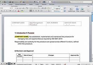Risk Register Template Excel Free Download Procedure Risk Management Iso 9001 2015 Iso9001new