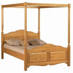 Lit Baldaquin Adulte : lit baldaquin 2 places pin miel 140 x 190 beaux meubles pas chers ~ Teatrodelosmanantiales.com Idées de Décoration