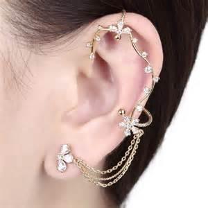 ear wraps and cuffs floral vine wrap clip on tassel chain ear cuff earring