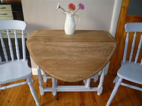 shabby chic drop leaf dining table vintage solid oak oval gate leg drop leaf dining table two chairs