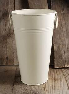 White French Flower Market 11quot Bucket Cream White