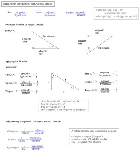 math practice math plane notes on sine cosine and tangent reciprocals and inverses
