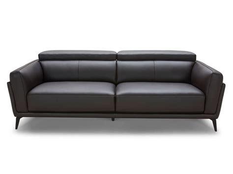 delamaison canapé canapé design en cuir de vachette ingrid noir 3 places