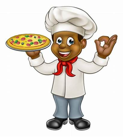 Chef Cartoon Pizza African Baker American Mascot