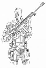 Coloring Deathstroke Deadshot Sketch Batman Knight Suicide Squad Arkham Digital Deviantart Credit Larger Comments sketch template
