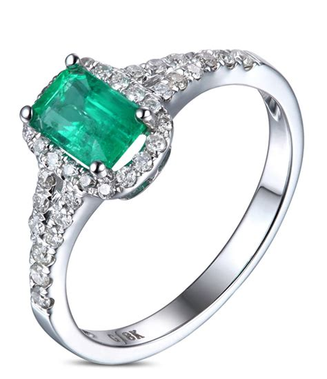 white gold halo engagement ring 1 50 carat emerald and halo engagement ring in white gold for jeenjewels