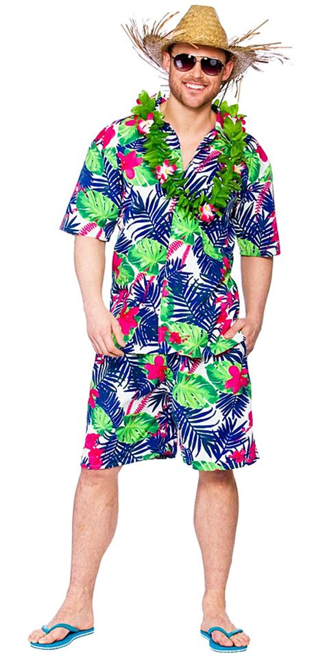 green mens hawaiian funky leaf costume letter quot h quot costumes mega