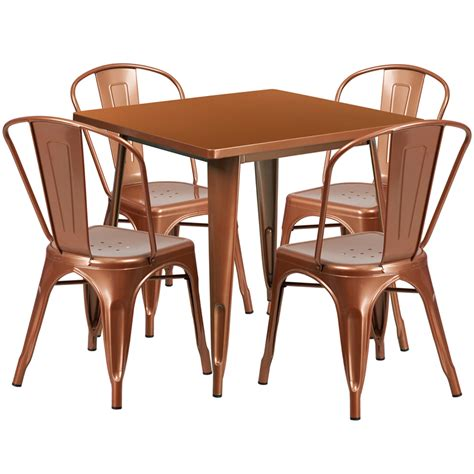 31 5 square copper metal indoor outdoor table set with 4