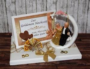 Glückwunschkarten Zur Goldenen Hochzeit : geld geschenk zur goldenen hochzeit mit goldpaar auf schaukel ~ Frokenaadalensverden.com Haus und Dekorationen