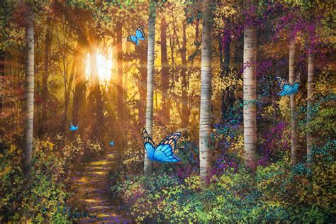 Forest Trail With Butterflies  Wall Mural & Photo