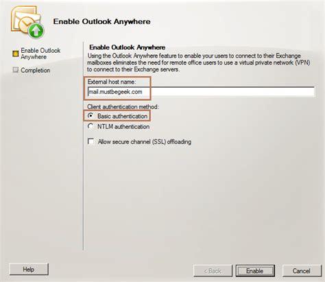 enable outlook   exchange