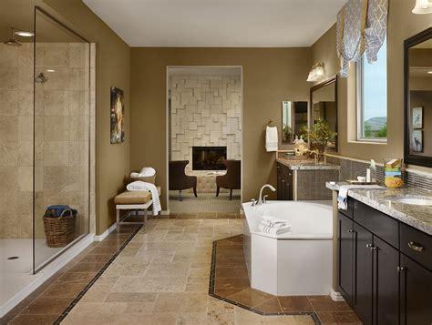 gehan homes master bathroom dark cabinets brown  tan