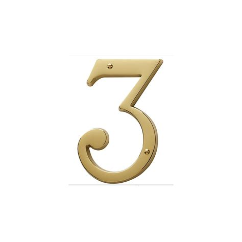 non lacquered brass house number 3 knobs n knockers