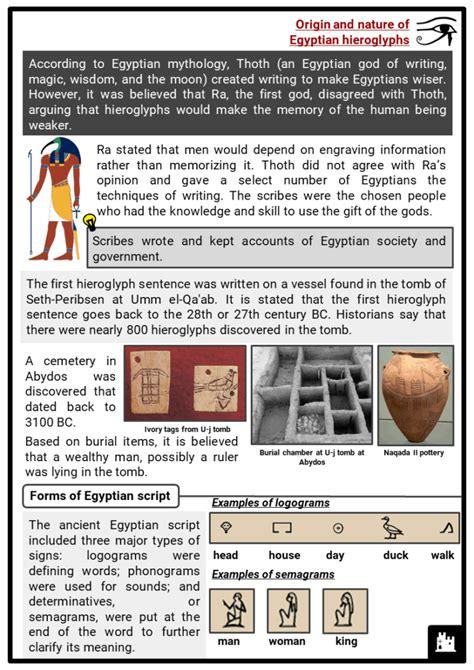 ancient egyptian hieroglyphs facts worksheets origin