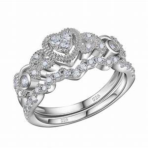 05ct heart white cz 925 sterling silver wedding for Silver wedding rings sets