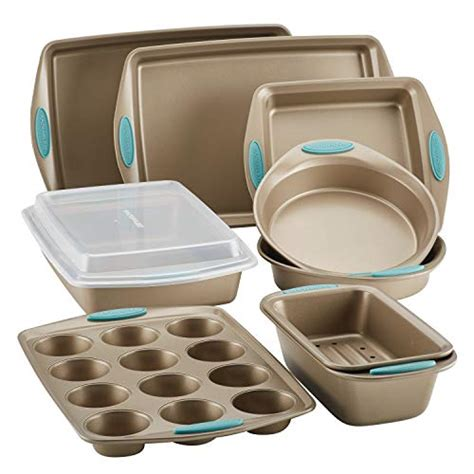 rachael ray bakeware nonstick cucina grips brown piece includes agave latte baking sheet pan handle bread cookie ware pans practical