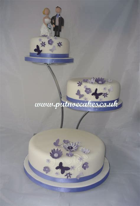 butterflies wedding cake  separated tiers  stand