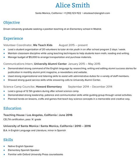 esl resumechronological resume sle esl