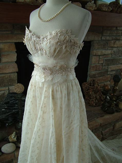 Wedding Dress 1930s Vintage Gown Restyled Strapless Lace