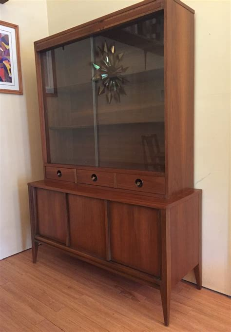 mid century modern teak sliding door mid century modern walnut china cabinet by basic witz epoch