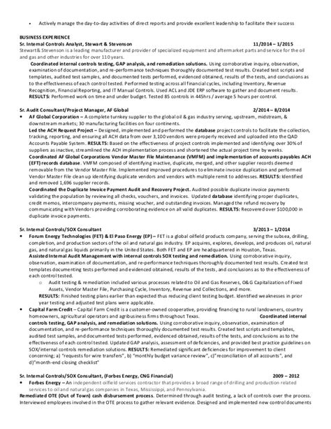 Auditor Resume Format 2015 by Senior Controls Analyst Auditor Houston Tx Resume