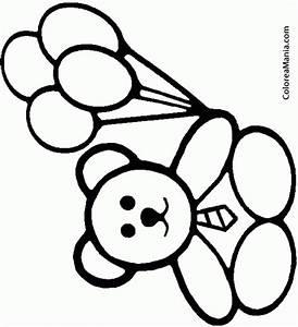 Colorear Osito con cuatro globos (Peluches), dibujo para colorear gratis