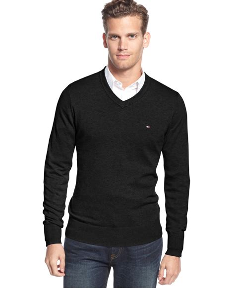 mens v neck sweater hilfiger signature v neck sweater in black for
