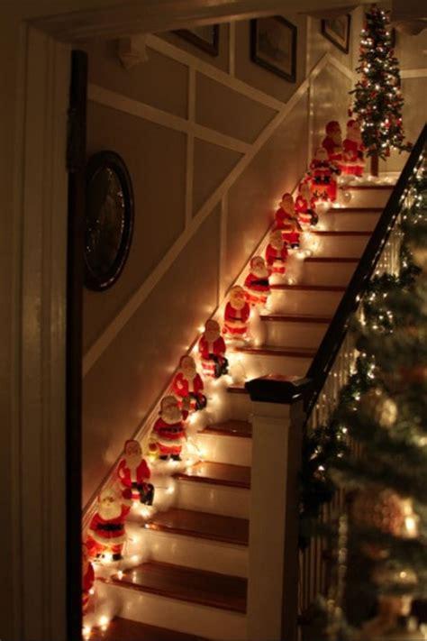 christmas decoration ideas lighting santa  stairs